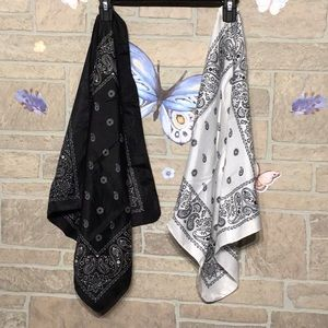 Accessories - 2 bandanas - black & white - w/ satin shimmer